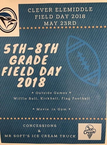5-8 Grade Field Day, May 23!!