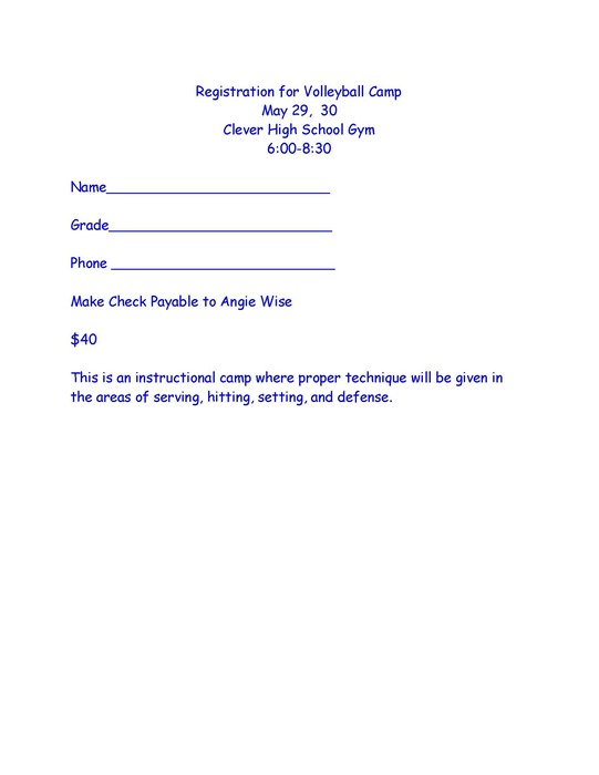 Volleyball Camp Grades 6th - 12th
