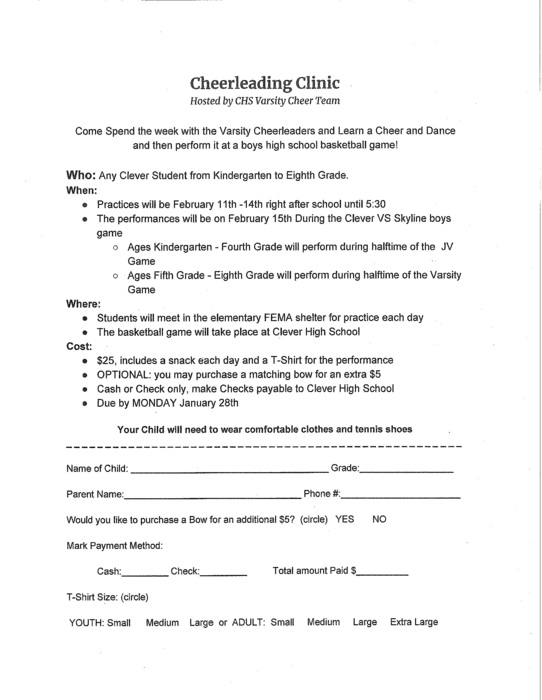 2019 Cheer Clinic Form