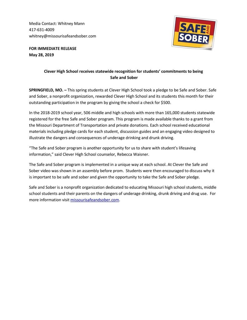 Safe and Sober Press Release
