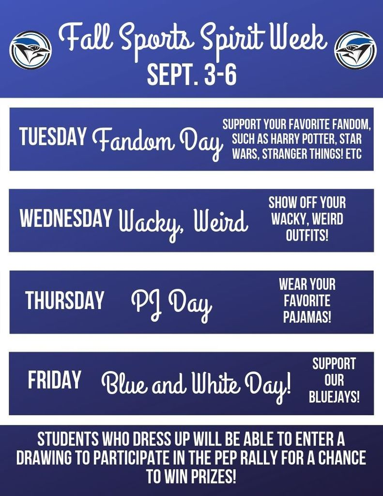 Grades 6-8 Spirit Week nest week!!
