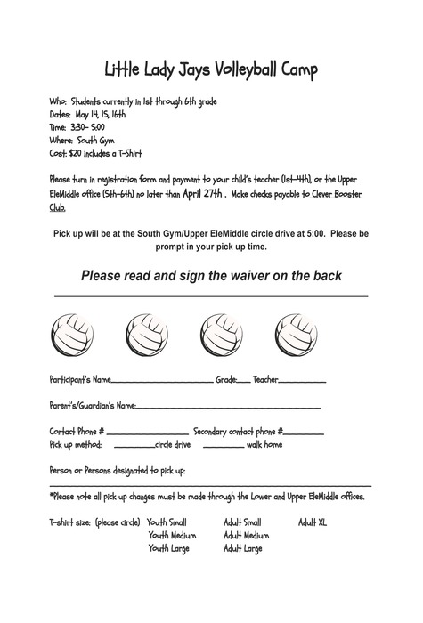 Little Lady Jays Volleyball Camp Form